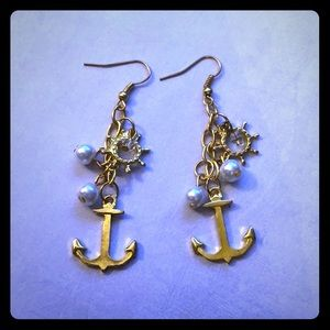 ⚓️Pearls Crystals Beaded Anchor & Helm Earrings⚓️